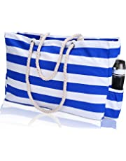 KUAK Beach Bag, Extra Large Canvas Beach Tote Bag with Waterproof Phone Case, Top Zipper, Cotton Rope Handles, Travel Tote Bag Shoulder Bag