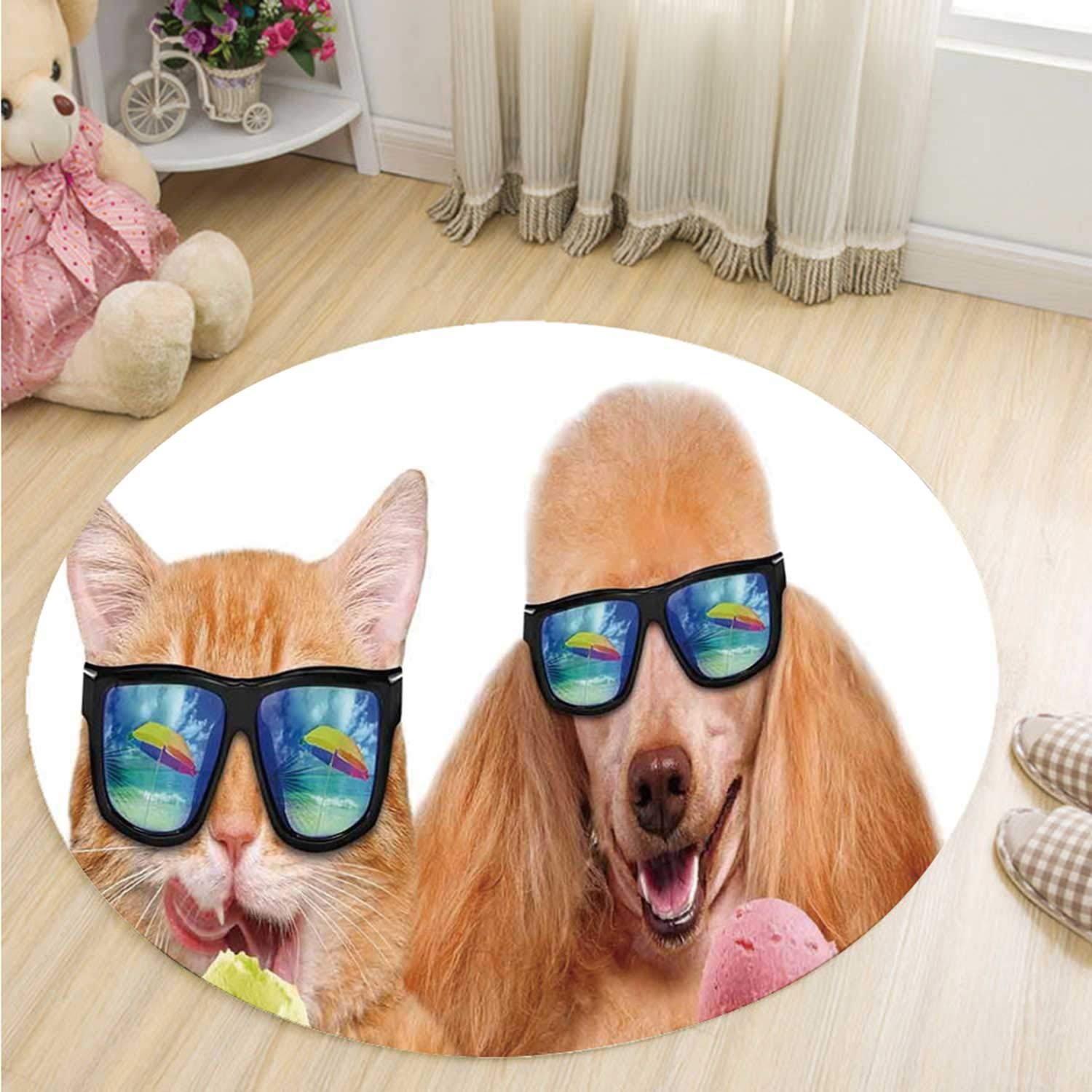 Animal Simple Round Mat,Cat Dog Pet with Sunglasses Eating Ice Cream Retro Cool Vintage Pop Artwork Image for Study,51''R by MOOCOM