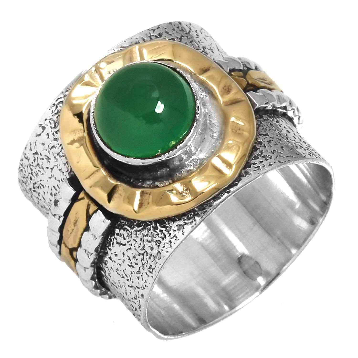 Natural Green Onyx Gemstone Ring Solid 925 Sterling Silver Two Tone Modern Jewelry Size 6