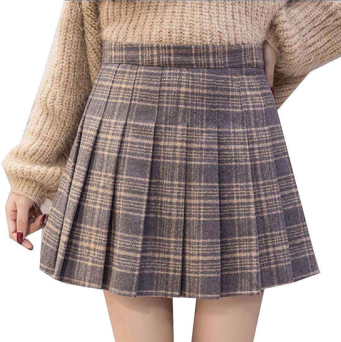 Doufine Women Uniform Mini Party Glen Plaid Stylish School Skirt