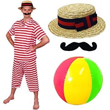 Mens Victorian Bathing Suit Fancy Dress Costume 1920s Fancy Dress