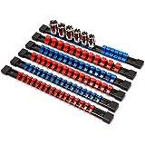 CASOMAN 6PC ABS Socket Organizer, 1/4-Inch, 3/8-Inch, 1/2-Inch, Premium Quality Socket Holders (6-Piece Set, Blue & Red)