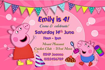 Personalised Peppa Pig Birthday Party Invitations Pink X10