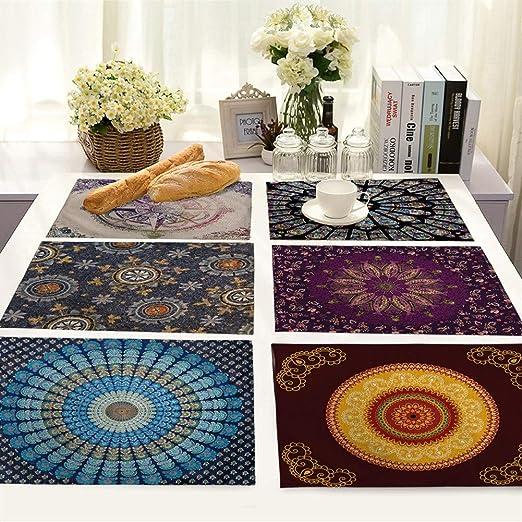 HUDNNFO Rectángulo Algodón de Lino Manteles Conjunto 6er - Simple y el patrón Fresco de la Mandala de Imprimir Juegos de Mesa Lavables para el hogar, Hotel (Color : AFRandom 6 Different):