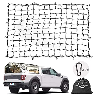 Cargo Net MICTUNING 5x7 Feet Heavy Duty Truck Bed Bungee Nets Stretches to 10x14 Feet with 16pcs D Shape Aluminum Carabiners Universal for Pickup Truck SUV Trailer Boat RV: Automotive