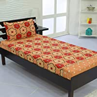Valito - Microfiber (90 GSM), Single Bedsheet, (235 cm x 140 cm) with Matching Pillow Cover (42 cm x 69 cm) - Floral, Cream
