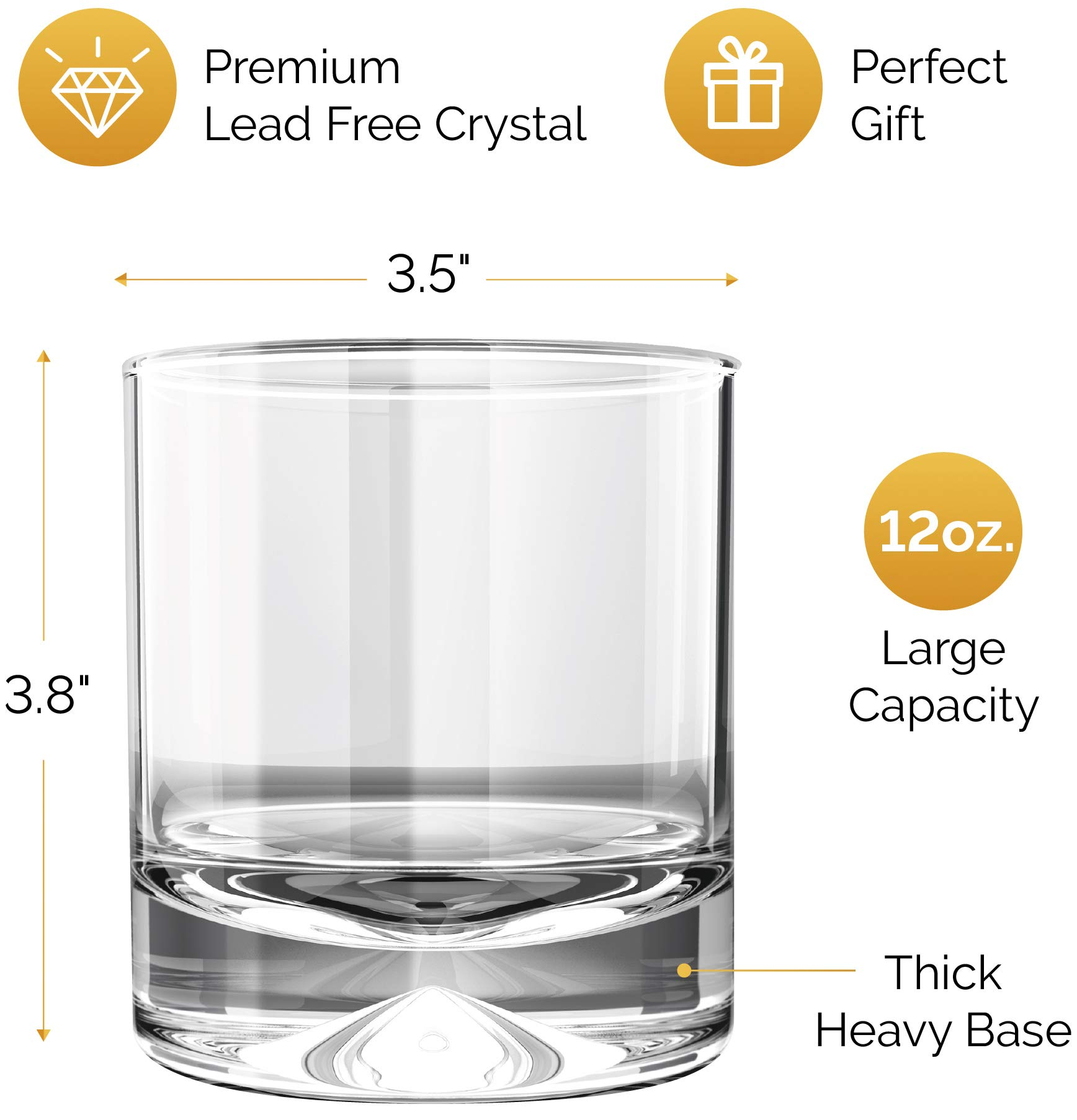 MOFADO Crystal Whiskey Glasses – Classic – 12oz (Set of 2) – Hand Blown Crystal – Thick Weighted Bottom Rocks Glasses…