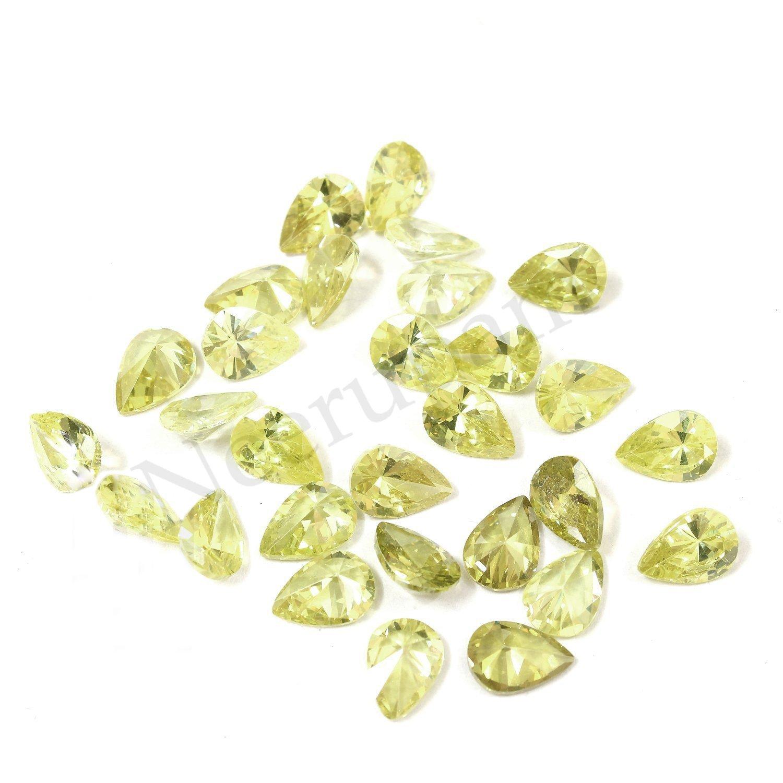 Neerupam collection Light Peridot Colour Cubic Zirconia AAA Quality Diamond Cut Pears Shape loose gemstone