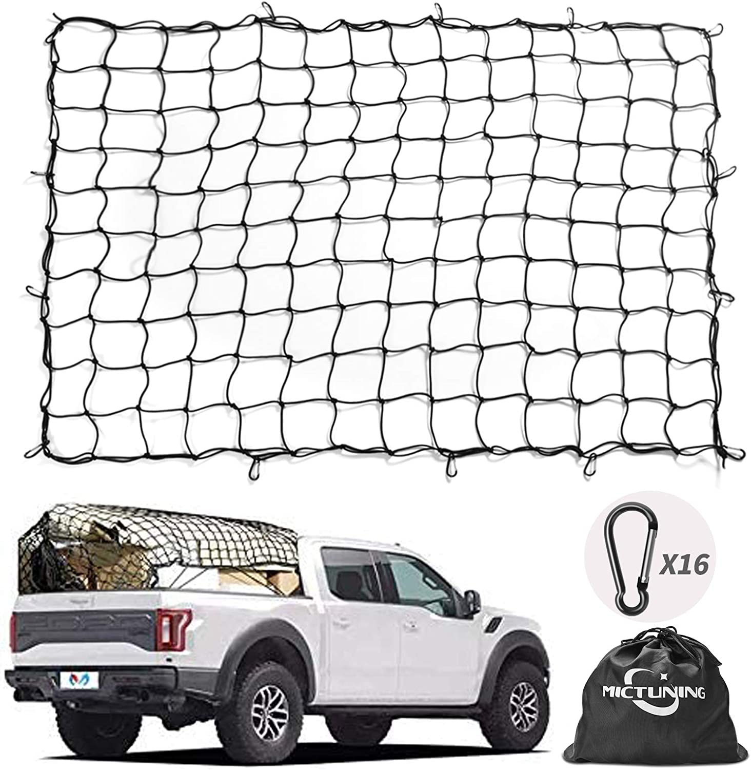Cargo Net 5x7 Heavy Duty Truck Bed Nets Stretches to 10x14 with 20 Pcs D Clip Carabiners Universal Car Rear Organizer Net for Pickup Bed Trailer SUV Truck,Boat