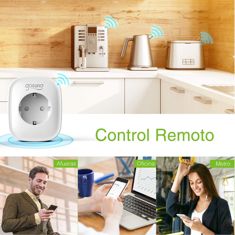 Wifi Enchufe Inteligente 4 Pack Gosund Smart Plug Mini para Controlar Dispositivos Desde Cualquier Lugar Temporizador Monitor de Energ/ía Compatible con Alexa//Google Home