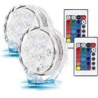 Submersible Led Battery Operated Light with Remote Waterproof Underwater Fountain Pond Pool Lights 16 Color RGB Changing…