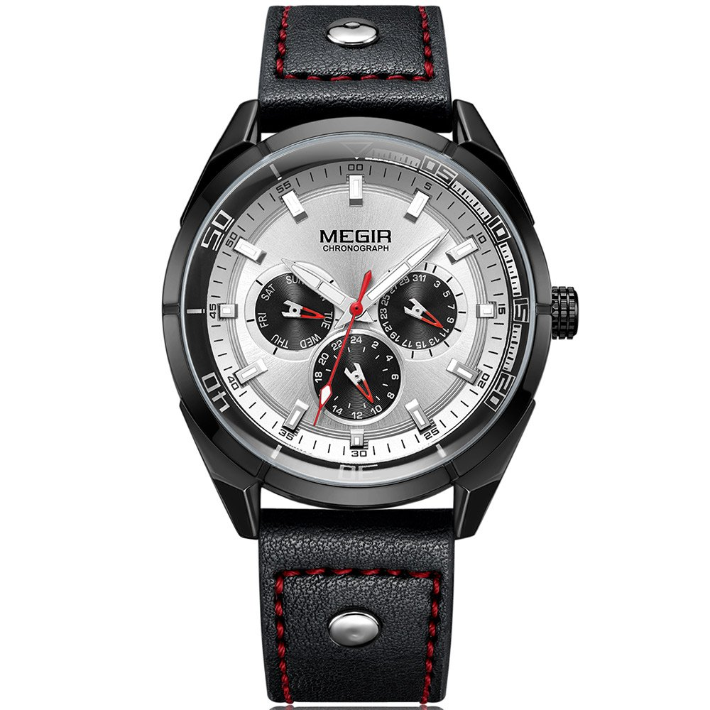 Megirアナログクォーツ男性用時計24時間日付週表示カジュアルレザー腕時計Manボーイズ B07B9WJ9RF