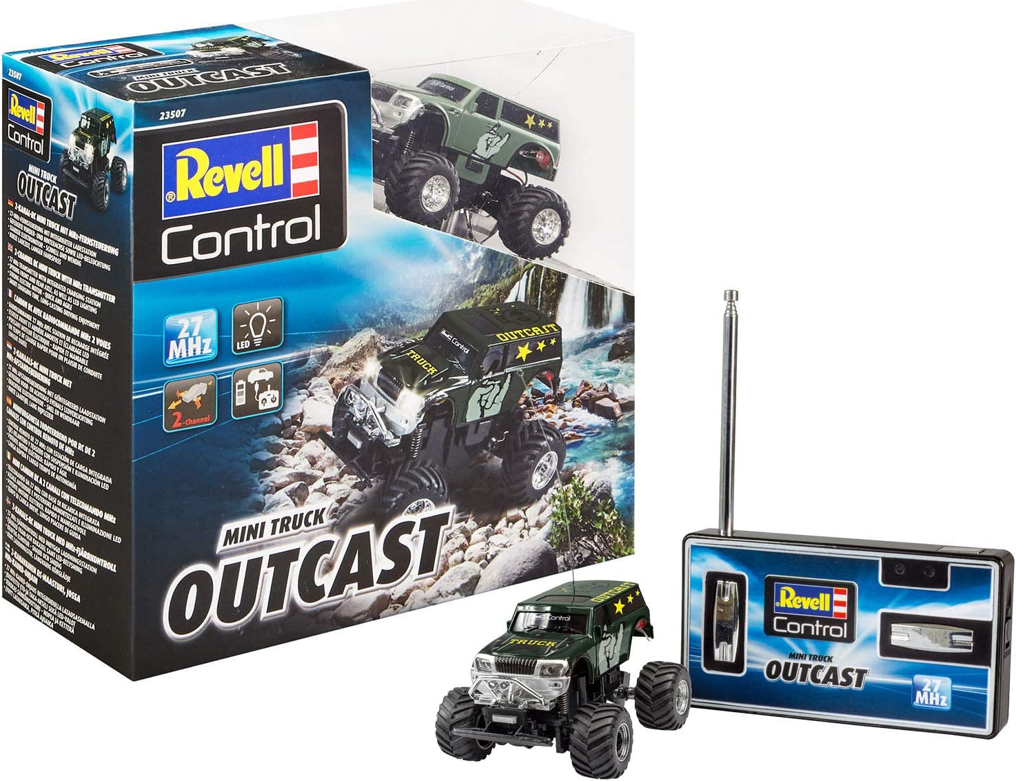 Revell-Mini RC Truck Outcast Juguetes a Control Remoto, Multicolor, Länge: ca. 8 cm (23507)