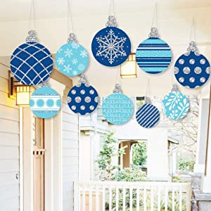 Big Dot of Happiness Hanging Blue and Silver Ornaments - Outdoor Holiday and Christmas Hanging Porch and Tree Yard Decorations - 10 Pieces