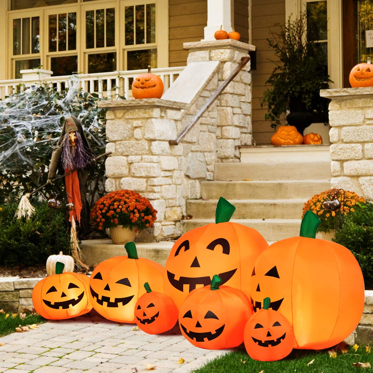 Large Inflatable Flashing Ligh Up Pumpkin Patch Halloween yard /& Lawn decoration
