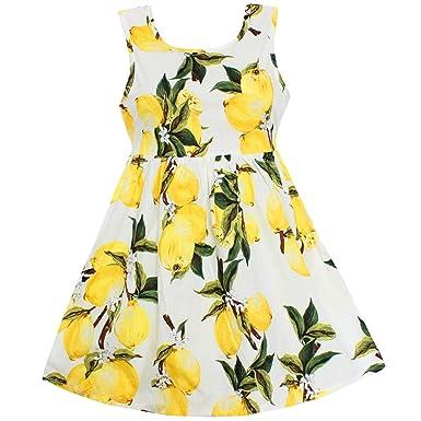 f79dc8dbd4e Amazon.com  Shybobbi Girls Dress Hot Lemon Print Cotton Belt Party Pageant  Casual Children Clothes  Clothing