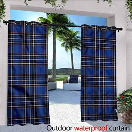 Amazon Com Warmfamily Plaid Patio Curtains Ornate Vivid Scottish