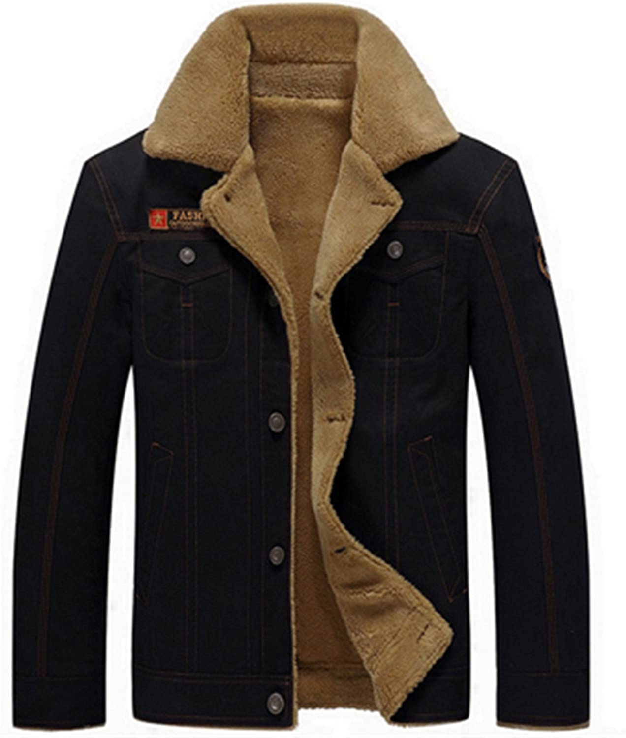 Olive Tayl Thicken Fleece Winter Jackets Mens Coats 5XL Cotton Fur Collar Mens Jackets Military Casual Male Outerwear