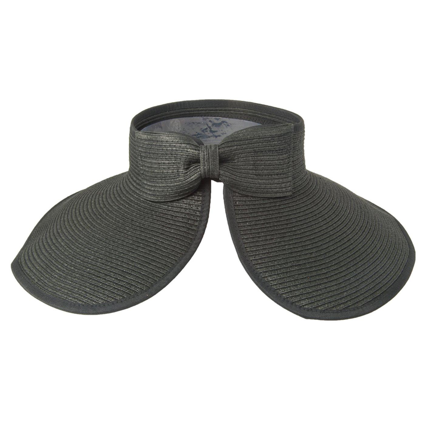 4672d59f Luxury Lane Women's Black Wide Brim Straw Sun Visor Hat at Amazon Women's  Clothing store: