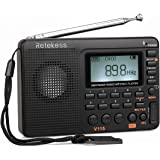 Retekess V115 Portable AM FM Radio with Transistor Radio Shortwave MP3 Player Speaker REC Voice Digital Recorder Support Micro SD T-Flash Card Sleep Timer Bass Sound(Black)