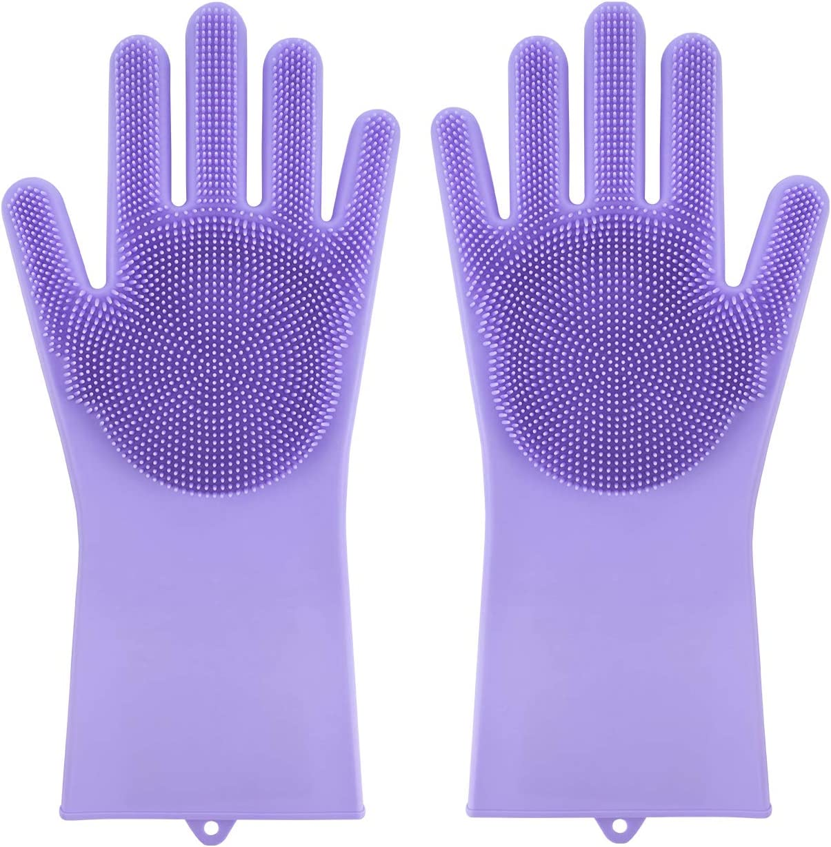 Scrub Glove for Dishes,Magic Silicone Dishwashing Gloves with Scrubbers, Hand Clean Scrub Glove for Cleaning Kitchen (Purple,1 Pair)