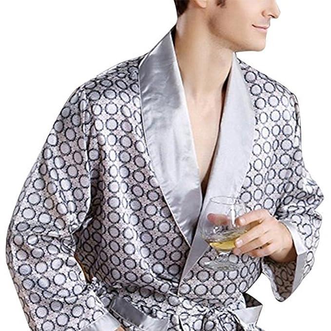 elegantstunning Men s Sleepwear Loungewear Comfortable 100% Silk Satin Robe  Bathrobe Luxury Sleepwear Loungewear 819c6598d