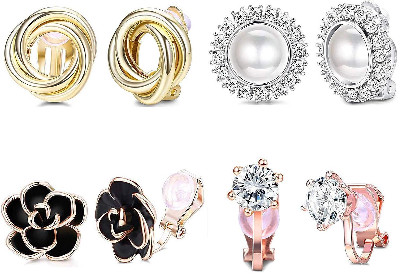 Finrezio 4 Pares De Pendientes De Clip Para Mujer Rose Flower Cz Pearl Twist Knot Hipoalerg/énicos Pendientes De Clip De Oreja No Perforados