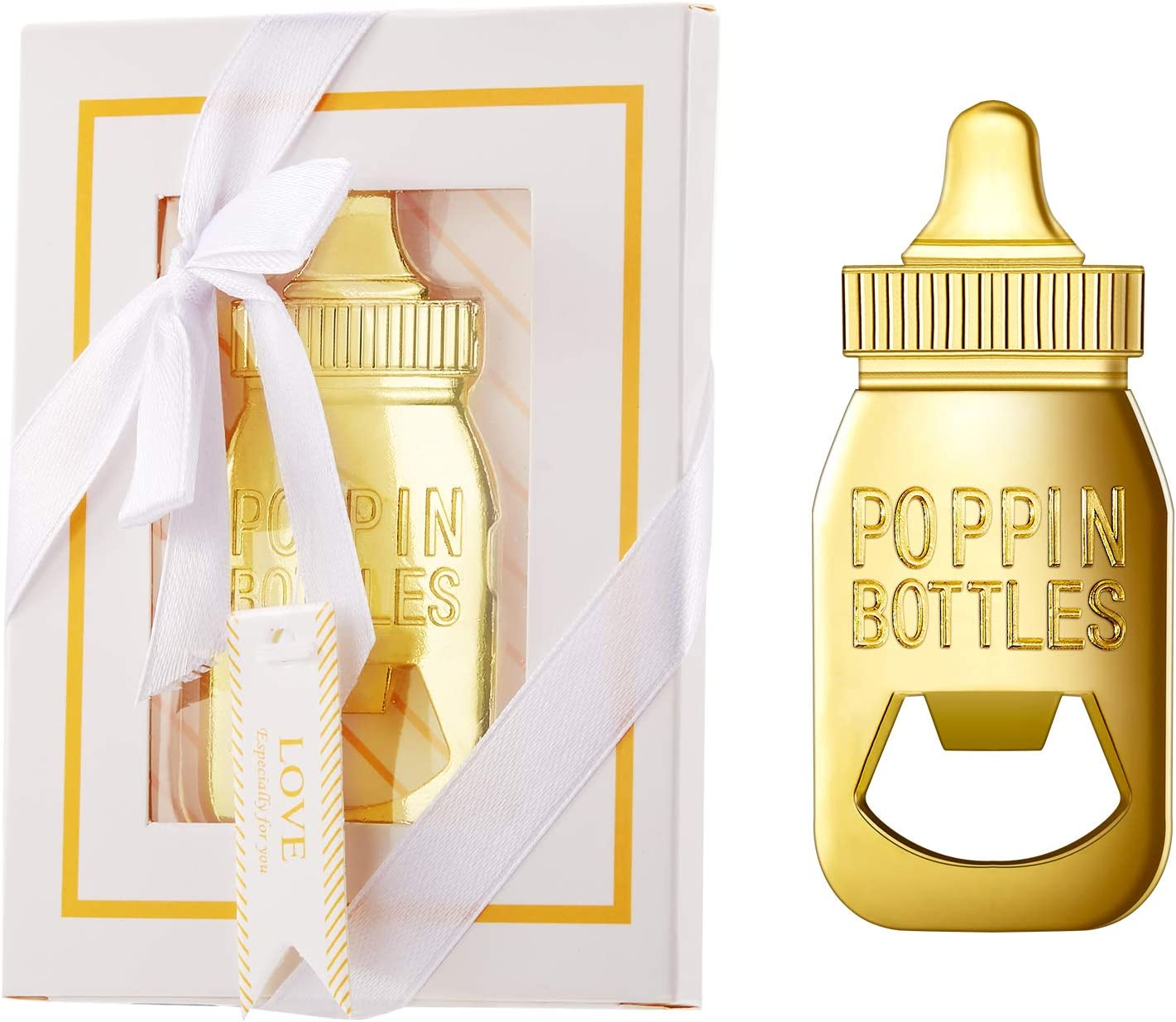 24 Packs Baby Bottle Opener Baby Shower Party Favor Poppin Bottle Shaped Bottle Opener Baby Shower Return Gifts for Guest Wedding Party Souvenir Birthday Bridal Shower (White)