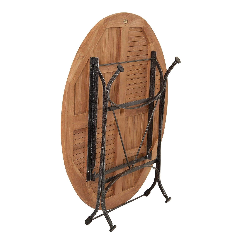 Homy Klapptisch XL rund 120cm Holz massiv Teakholz Gestell Eisen schwarz Schirmloch Sana