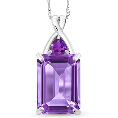 Gem Stone King 10K White Gold Natural Purple Amethyst Pendant Necklace 7.21 Cttw Emerald Cut with 18 Inch Chain