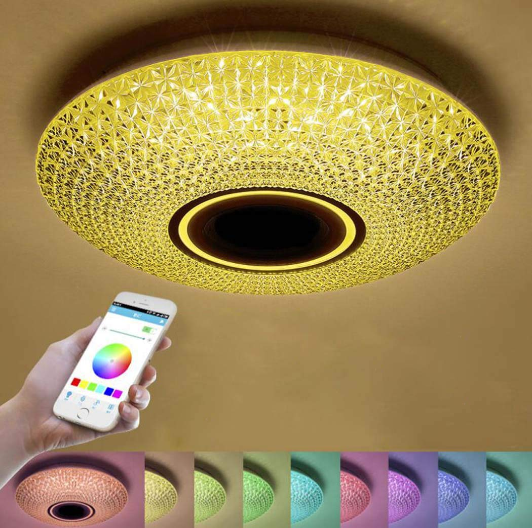 GAOLIQIN 36W Ø40cm LED シーリングライト リモコン付き Bluetoothスピーカー内蔵 スマートフォン アプリ 音楽ランプ RGB 色温度調整可能 調光可能 クールホワイト ラウンド フラッシュマウント照明器具 B07LBSZCZW