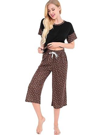 01e264a1fe9f FISOUL Womens Pajamas Cotton Sleepwear Floral Print Short Sleeve Soft Pajama  Set Black S