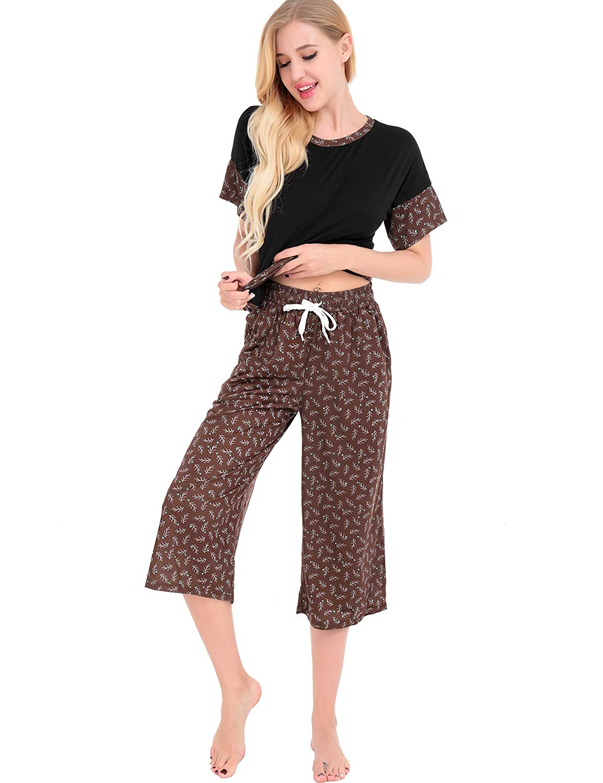 Black FISOUL Women's Cozy Pajama Set Short Sleeve Cotton Sleepwear Nightwear Soft PJS Set Cropped Pants