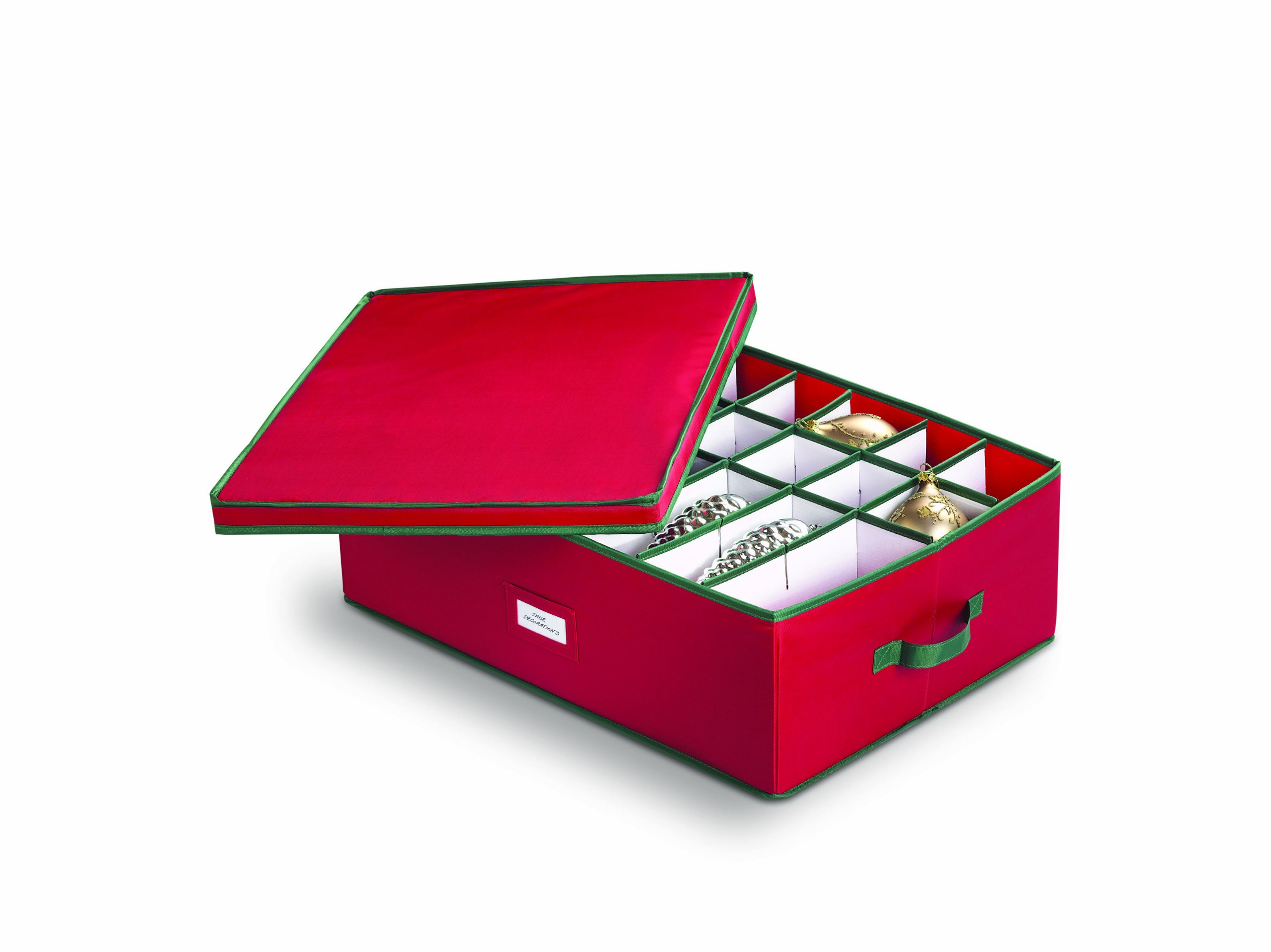 HOMZ 5831005 Heirloom-Ornament Storage Box, Large, Holiday Red