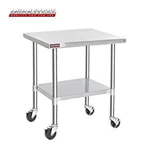 "DuraSteel Stainless Steel Work Table 30"" x 36"" x 34"" Height w/ 4 Caster Wheels -Food Prep Commercial Grade Worktable - NSF Certified - Good For Restaurant, Business, Warehouse, Home, Kitchen, Garage"