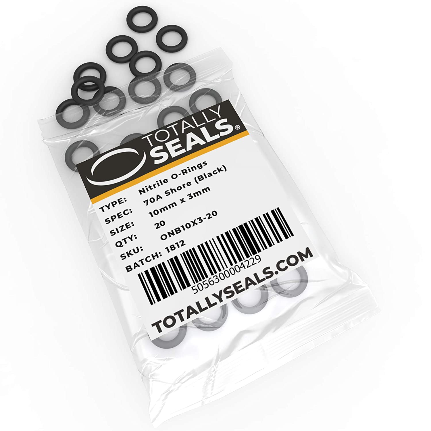 16mm OD 10mm x 3mm Nitrile Rubber O-Rings 70A Shore Hardness Pack of 10
