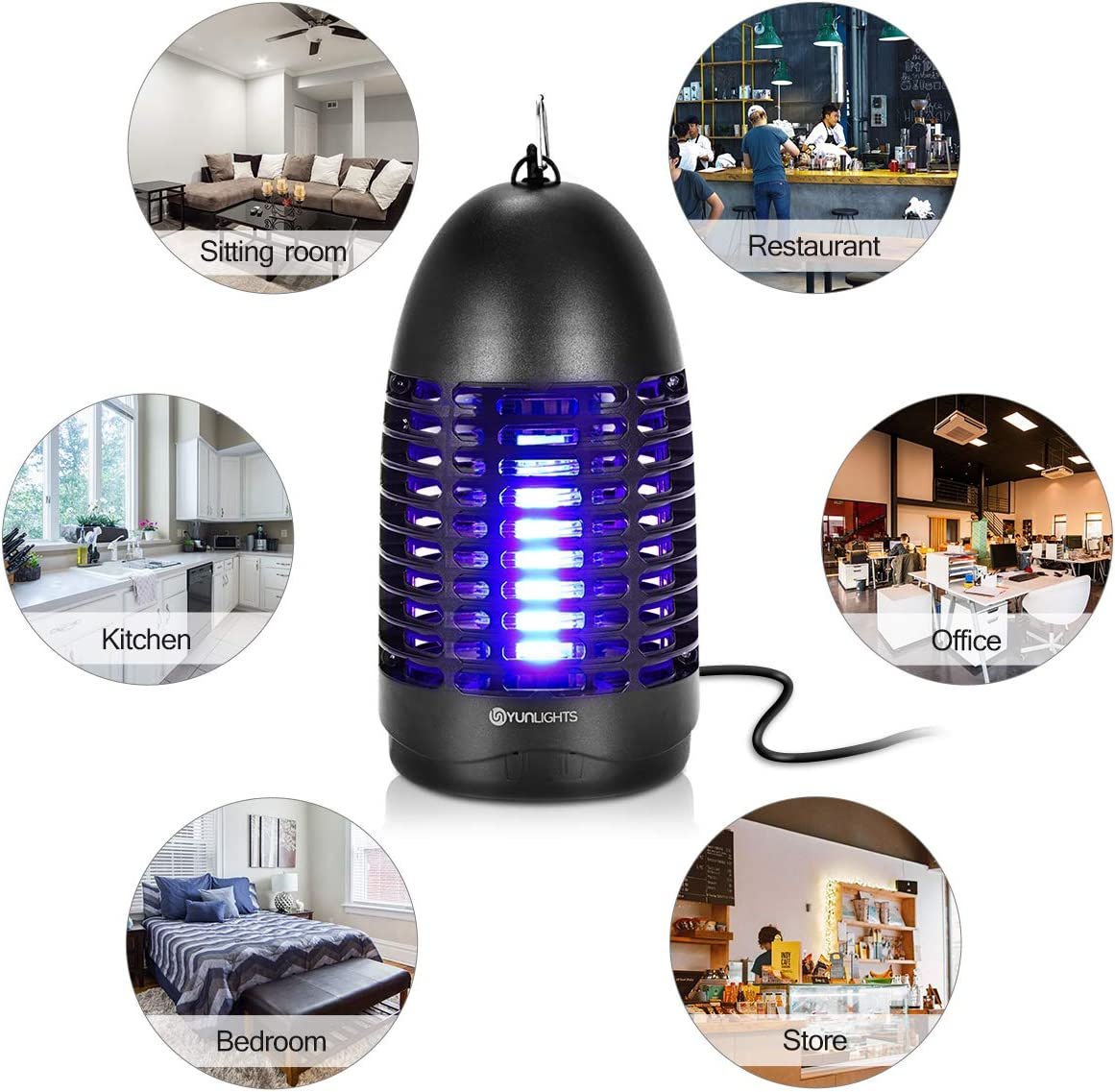 Electric Mosquito Killer, Fly Zapper 8W Electric Fly Killer with Hook Hanging Standing Insect Killer Lamp