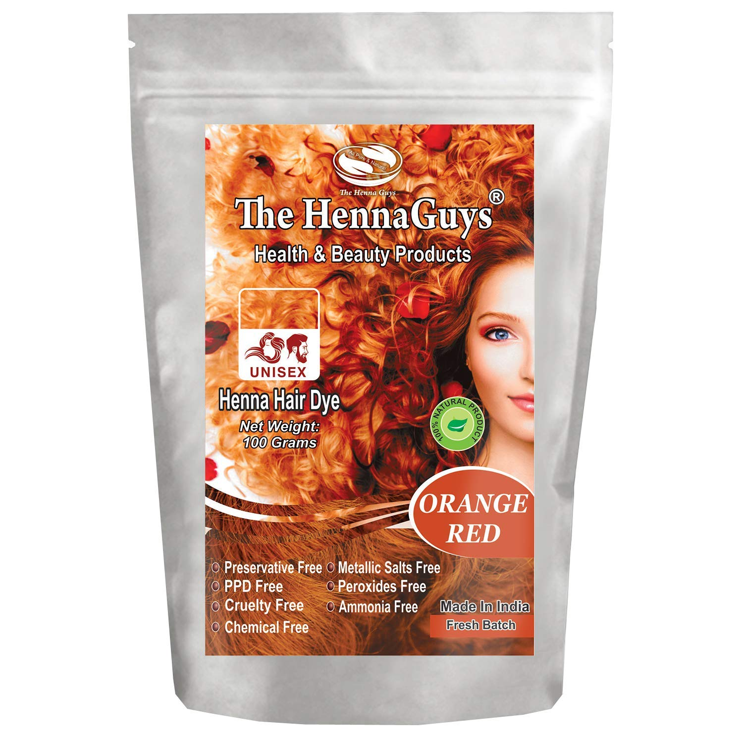 Red/Orange Henna Hair Dye/Color - 1 Pack - The Henna Guys