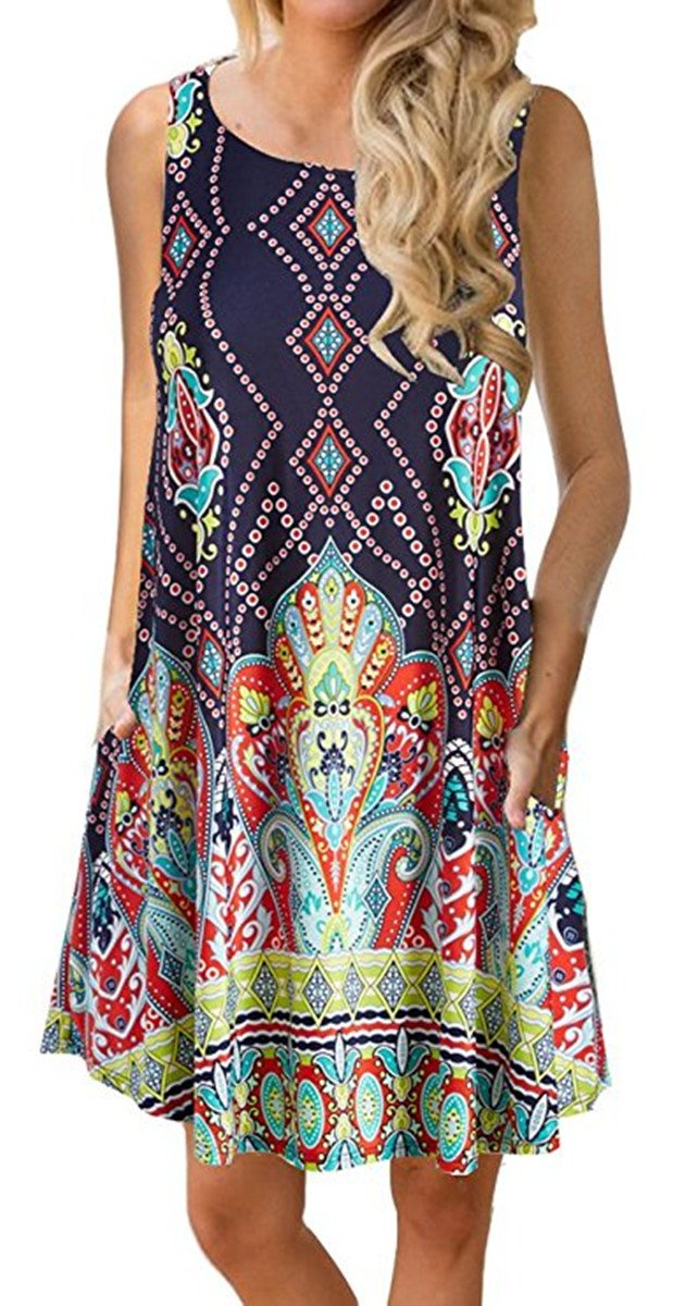 Boho Tshirt Dresses for Women Sleeveless Summer Beach Floral Shift Pockets Casual Swing Loose Damask (L, Print)