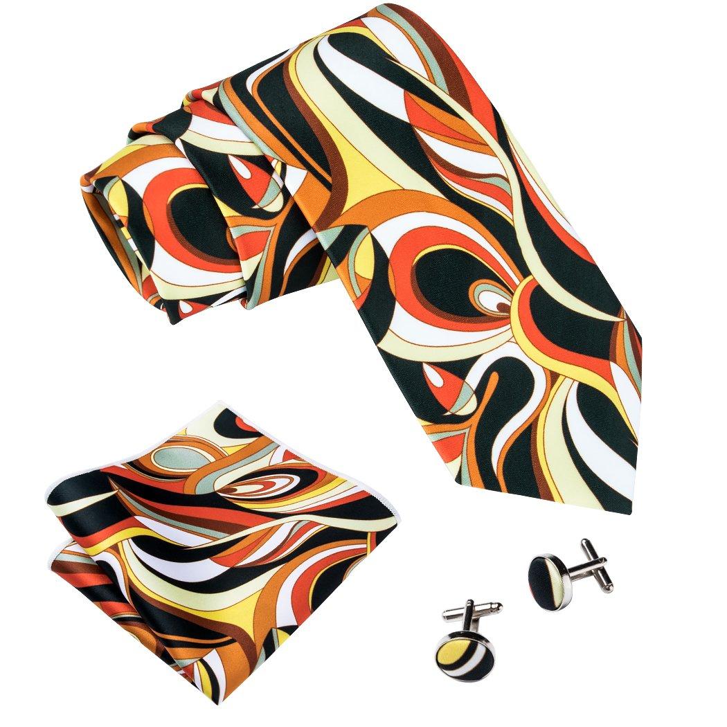 1960s Men's Ties   Skinny Ties, Slim Ties Barry.Wang Printed Silk Tie Set Hanky Cufflinks Party Neckties $12.99 AT vintagedancer.com