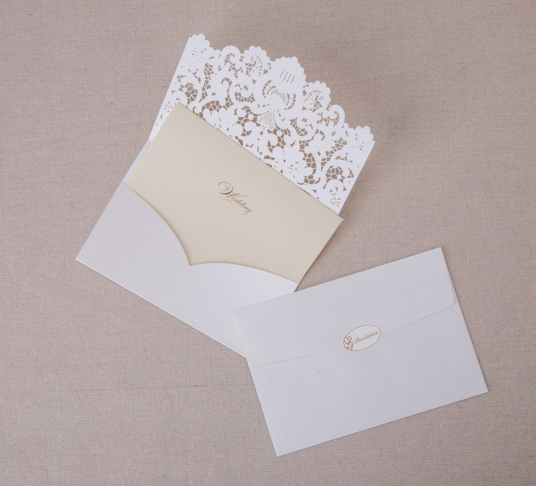 Wishmade Wedding Invitations Kits 20PCS Horizontal Embossed Lace ...