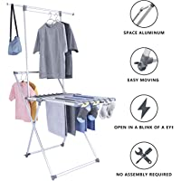 Aluminum Cloth Drying Rack Free Install Heavy Duty Collapsible Folding Laundry Hanger Drying Rack with Casters for Indoor and Outdoor Use