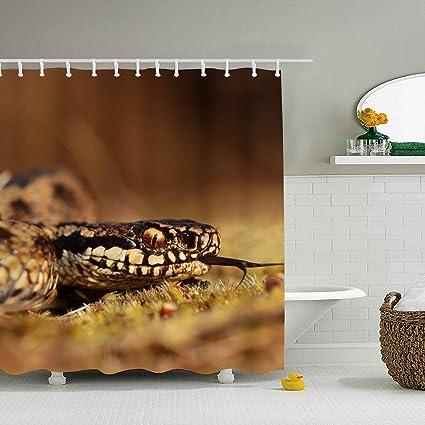 Amazon.com: Una Stowe Bathroom Shower Curtain Animal Snakes ...