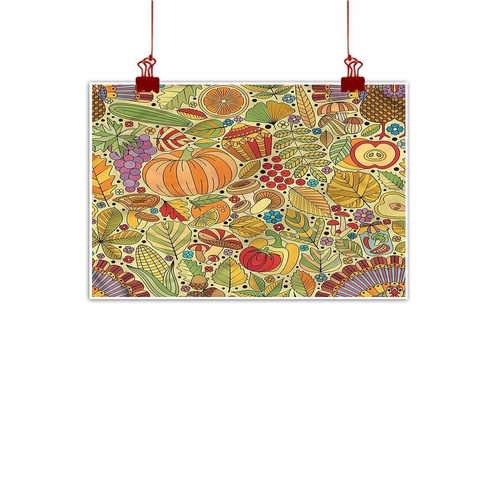 color11 24 x16  (60cm x 40cm) Mangooly Canvas Prints Wall Decor Art Thanksgiving,Pilgrims Hat Turkey Home Decorations Modern Stretched and Artwork