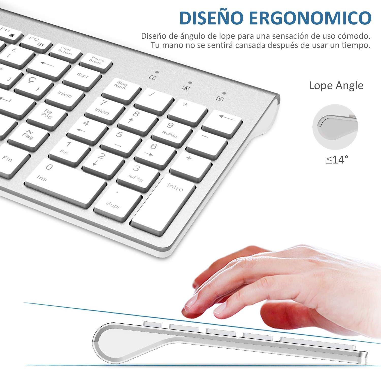 FENIFOX Teclado y Raton inalambrico, diseño ergonómico 2,4 G Teclado inalámbrico y ratón Combinado con Nano Receptor USB para PC de Escritorio, Mac OS ...