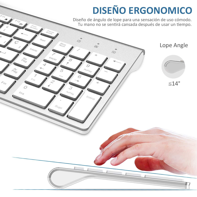 FENIFOX Teclado y Raton inalambrico, diseño ergonómico 2,4 G Teclado inalámbrico y ratón Combinado con Nano Receptor USB para PC de Escritorio, ...