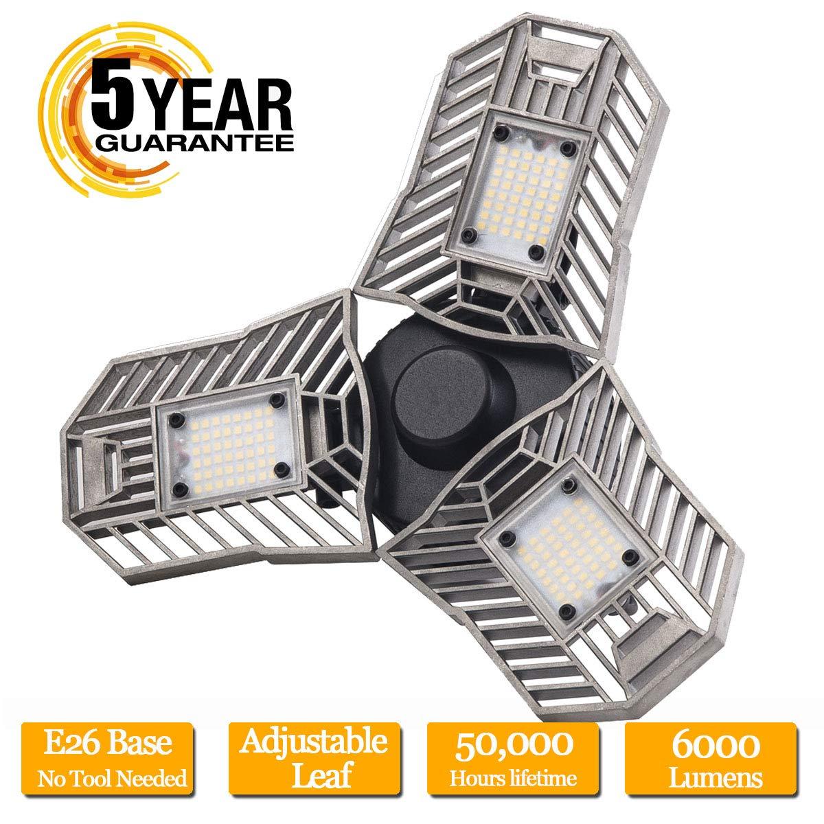 LED Garage Lights, 60W E26/E27 6000LM Deformable Ceiling Lighting for Full Area, LED Light Bulbs for Workshop, barn, Warehouse etc. by Mopzlink