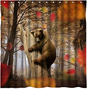 YUYASM Brown Bear in Autumn Forest Shower Curtain Decor,Maple Trees Fallen Leaves White Owl Fall Scenery Fabric Bathroom Curtains,Waterproof Polyester Bath Curtain Set with Hooks 70x70 Inch
