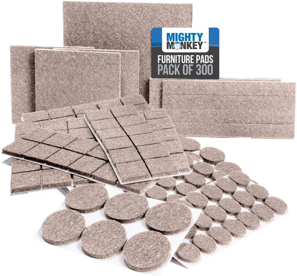 MIGHTY MONKEY Felt Furniture Gripper Pads, 300 Pack, Easy Glide, Stays on Furniture, Pad Prevents Scratches on Floors, Prescored Adhesive Strips Secure to Furniture, Heavy Duty, Protects Floor, Beige
