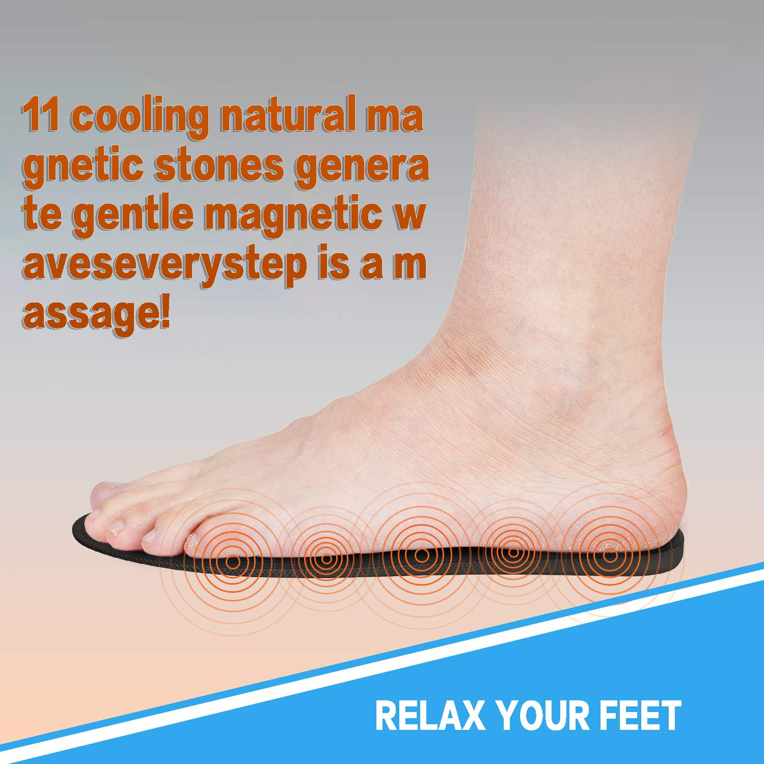 Premium Magnetic Reflexology Acupressure Effect \\nHealth Promote Circulatory Fatigue Relieve Health Therapy for Men Women 1 Pair Magnetic Massage Insoles,Breathable Foot Acupressure Shoe Pads